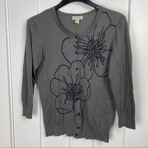 Loft medium floral cardigan sweater